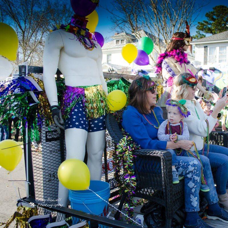Colorful float – New Bern Mardi Gras 2020