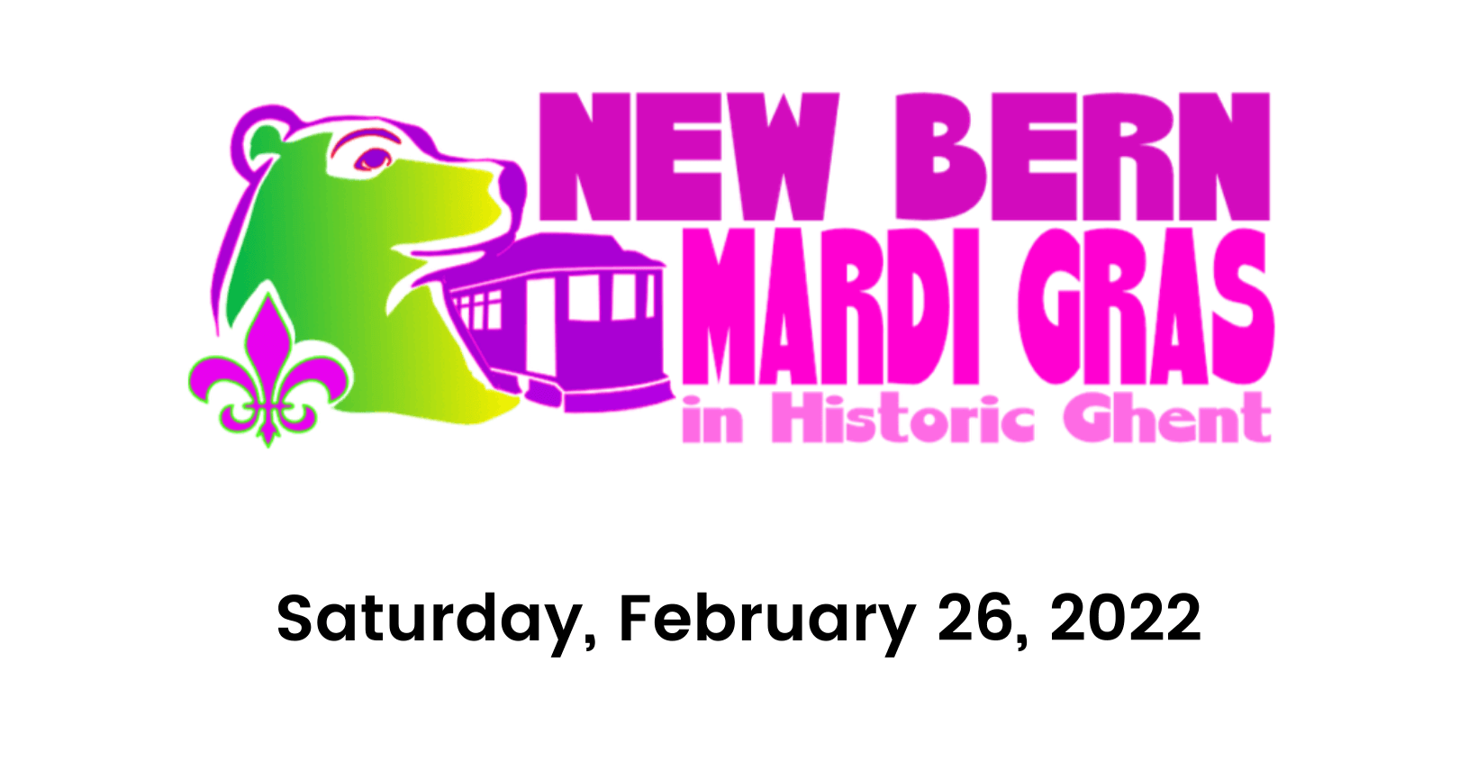 Ghent-New Bern Mardi Gras logo 2022 and date