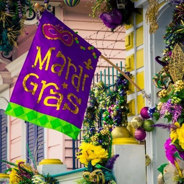 Mardi Gras flag on porch
