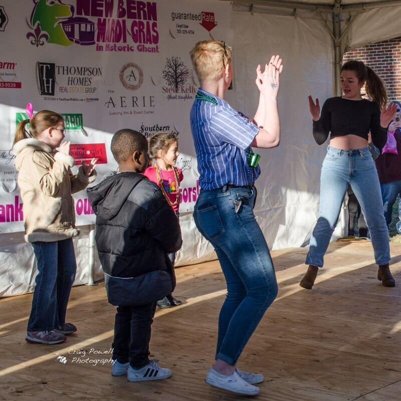 children dancing on stage – New Bern Mardi Gras 2020